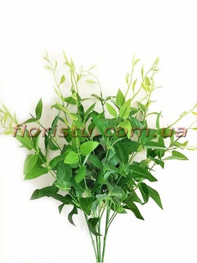 Ветка искусственная с зелеными листьями для декора 50 см