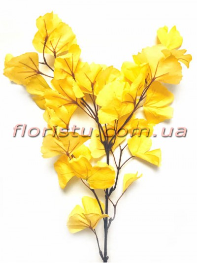 Ветка гинкго билоба искусственная Желтая 80 см