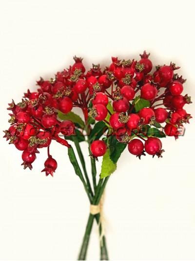 Букет с ягодами шиповника Красными премиум класса 6 веток 24 см