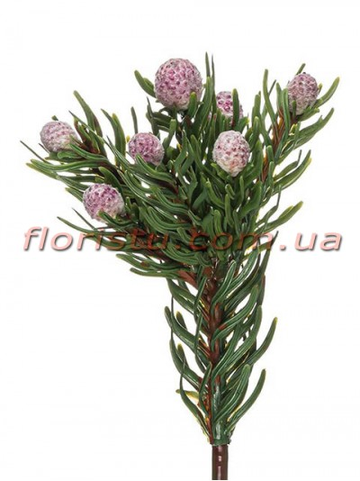 Бруния искусственная с бледно-розовыми ягодами 37 см