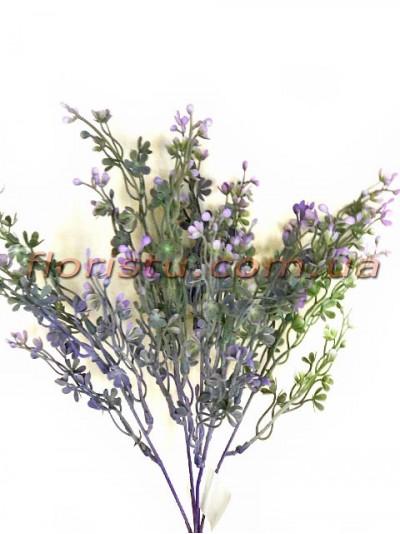 Букет пластик с мелкими цветочками Дымчато-фиолетовый 37 см