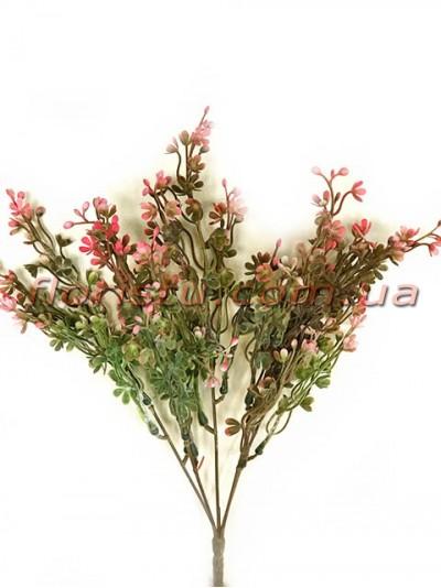 Букет пластик с мелкими цветочками Розово-зеленый 37 см