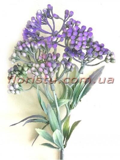 Ветка с ягодами мимозы Винтаж дымчато-фиолетовая 31 см