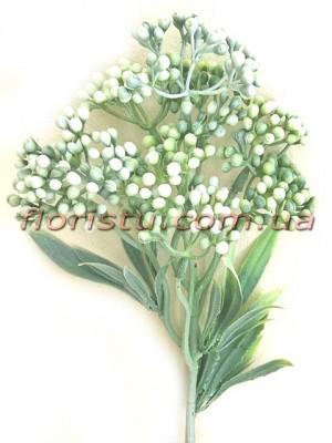 Ветка с ягодами мимозы Винтаж дымчато-зеленая 31 см