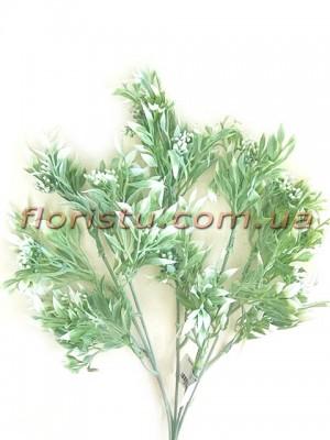 Ветка с мелкими ягодками Дымчато-зеленая пластик 38 см