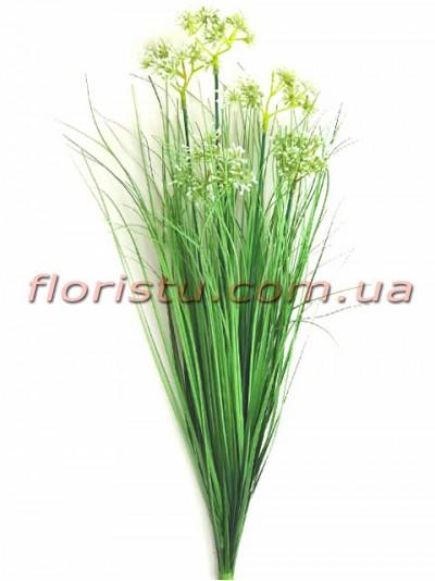 Берграсс искусственный Зеленый с белыми цветочками 72 см