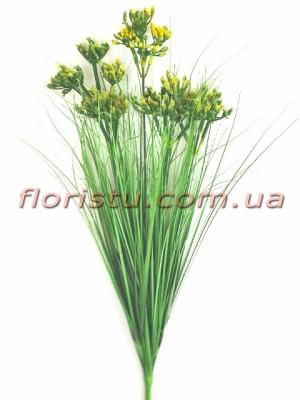 Берграсс искусственный Зеленый с желтыми цветочками 70 см