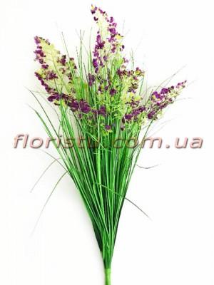 Берграсс искусственный Зеленый с фиолетовыми цветочками 70 см