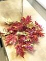 Ветка клена искусственная Осенняя коричнево-оранжевая 90 см