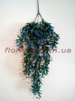 Лиана ампельная пластик с голубыми цветами 80 см