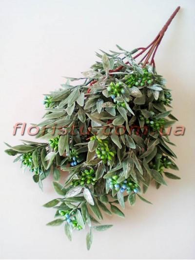 Ветка нежно-зеленая с мелкими зелено-голубыми ягодками 34 см