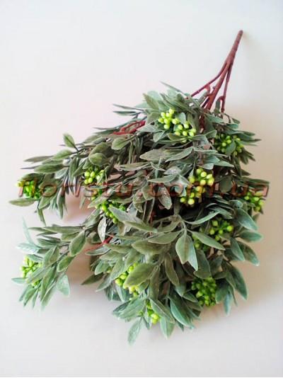 Ветка нежно-зеленая с мелкими зелеными ягодками 34 см