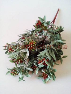 Ветка нежно-зеленая с мелкими коричнево-зелеными ягодками 34 см