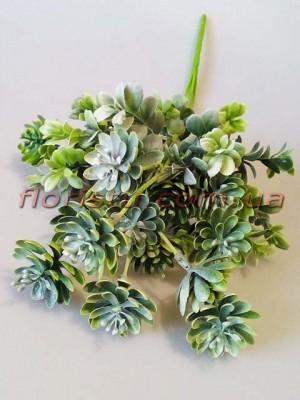 Искусственный куст суккулентов с добавками Дымчато-зеленый 43 см