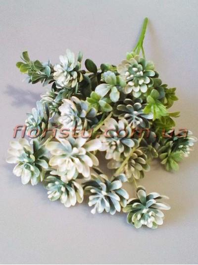 Искусственный куст суккулентов с добавками Бело-зеленый 43 см