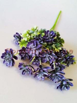 Искусственный куст суккулентов с добавками Дымчато-фиолетовый 43 см