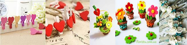 Мелкий декор из прищепок, корзинок, цветочков